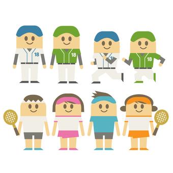 Baseball & men and women playing tennis