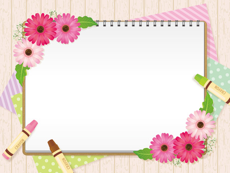 Sketchbook and Spring Color Gerbera Background 01