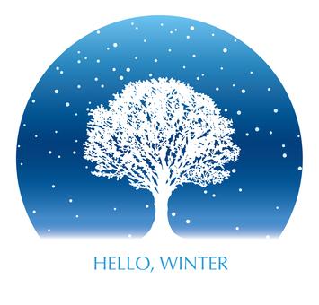 雪原の木 円形の背景