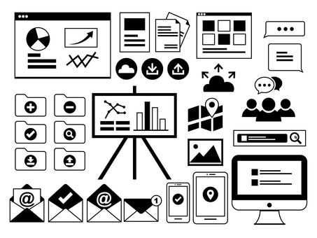 Business material icon set