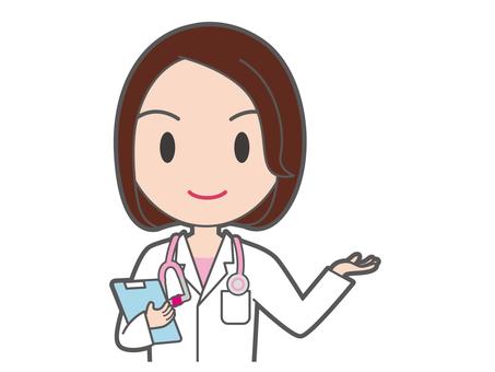 Female doctor upstanding her upper body