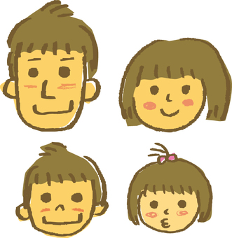 Hand drawn 4 people family