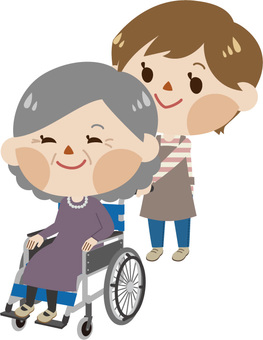 Women with wheelchairs and caregivers (women)