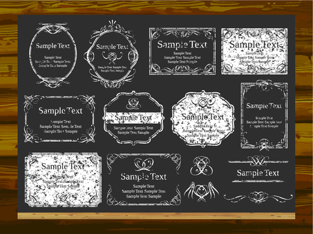 Chalk-like decoration and blackboard and wood grain wall background