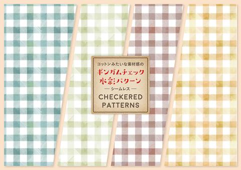 깅엄 체크의 수채화 패턴