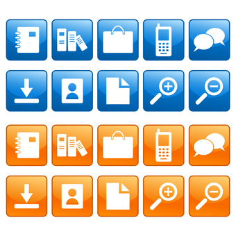 Blue and orange icons such as bags and mobile