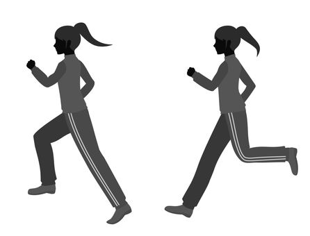 Silhouette of a woman running in jersey