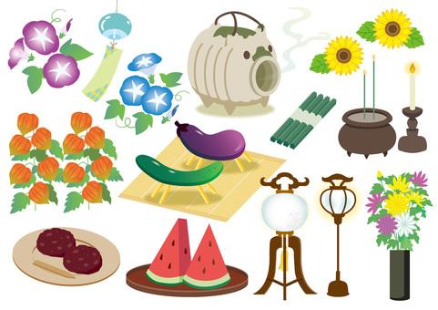 Illustration set of Obon
