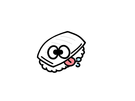 自分にヨダレをたらすお寿司イカ