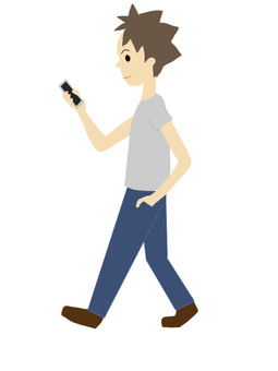 A man who walks and takes a smartphone