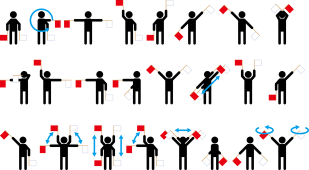 Hand Flag Signal Set Hand Flag Signal Set