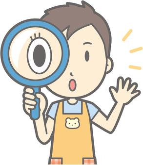 Nursery teacher man - magnifying glass - bust