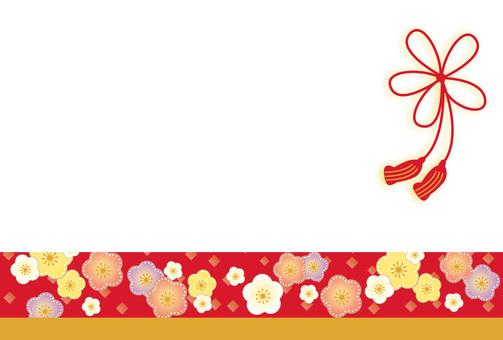 Japanese pattern plum and ribbon