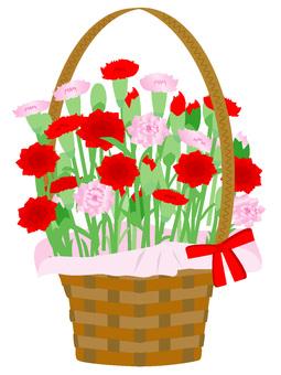 Flower basket 5 Red and pink carnation