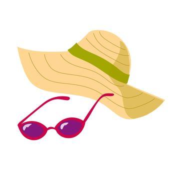 밀짚 모자와 선글라스 레드