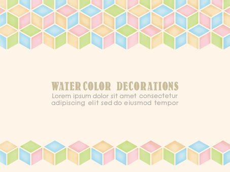 Watercolor touch block pattern frame A