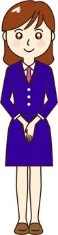 制服の女性事務員ーあいさつ