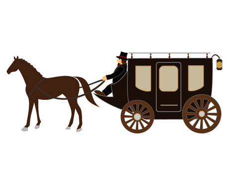 Horse carriage (station horse carriage: with a bowler)