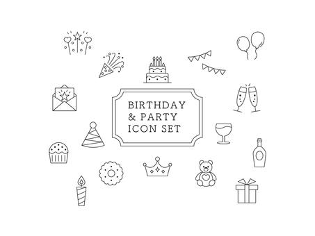 Icon set birthday / celebration line drawing