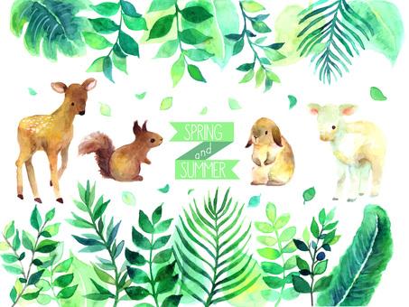 緑の水彩イラスト