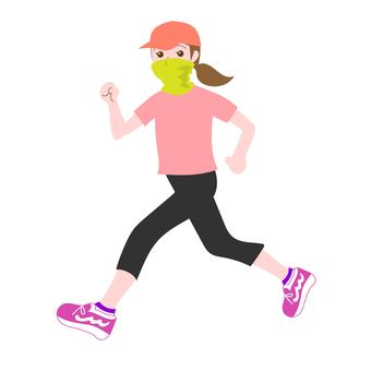 Woman jogging with mask-2
