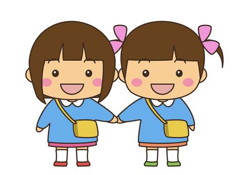 幼兒園兒童(女孩和女孩)