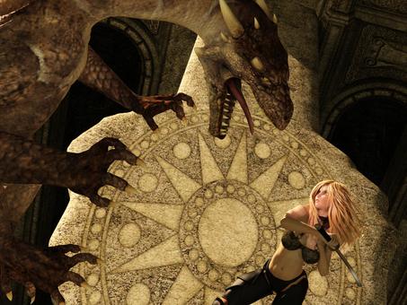 Female swordsman fighting the dragon