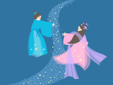 Orihime and Hikoboshi meet in the Milky Way in Tanabata_Background