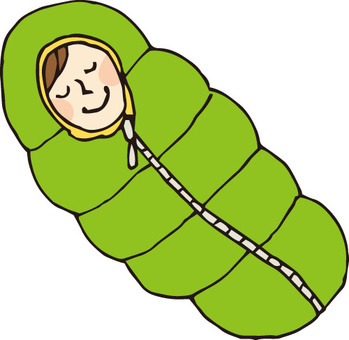 Sleeping bag and person 1