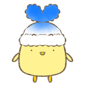 Chick in heart hat / blue