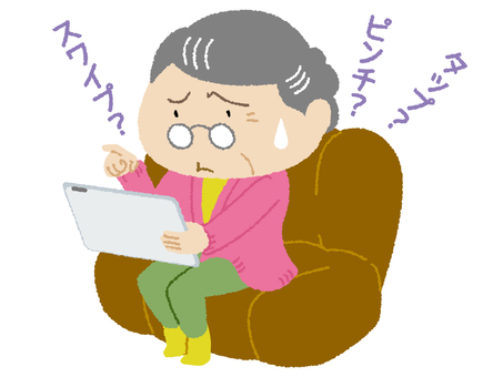 Grandma using a tablet for the first time