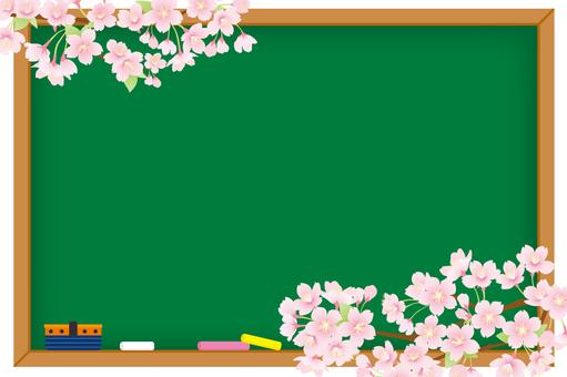 칠판과 벚꽃 배경 01