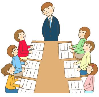 Group learning male teacher