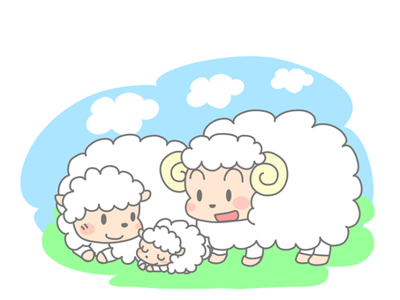 Parent and child of sheep (3 animals)
