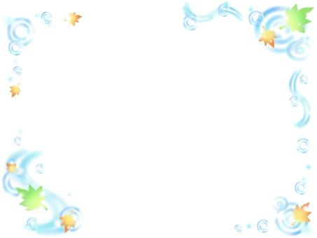 물 × 단풍 프레임 (녹색)
