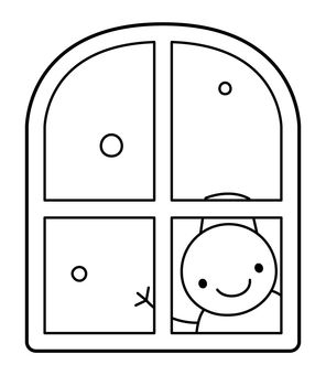 A snowman peeping through the window
