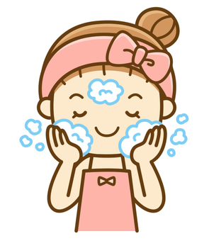 Women washing their face