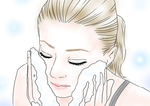 Woman face wash makeup remover