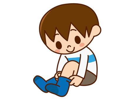Boy with no socks