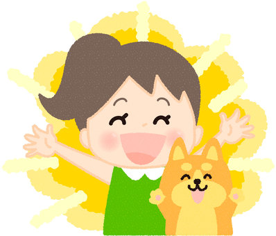 Smiling girl and dog