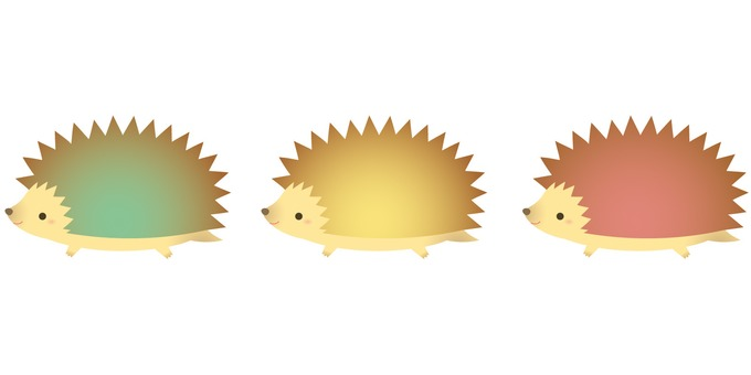 Soft-colored hedgehog (green / yellow / pink)