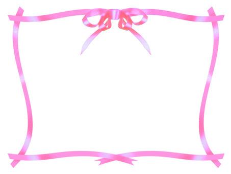 Pink ribbon frame white