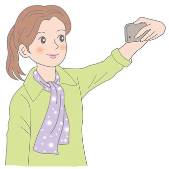 A woman taking self in herself with a smartphone
