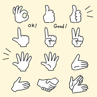Hand gesture, hand drawn, icon set