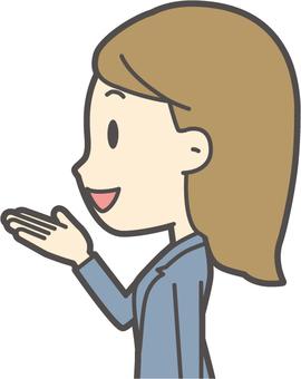 青スーツ女性-144-バスト