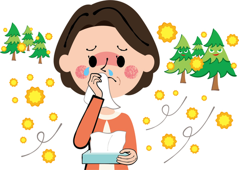 Woman women wiping tears and runny nose with pollinosis tissue