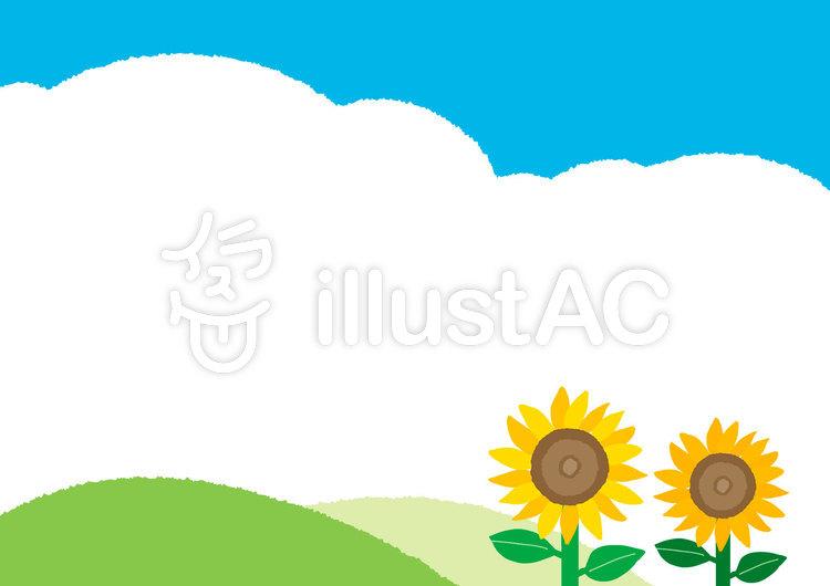 【夏】ひまわり 背景 イラストのイラスト