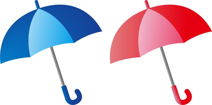 Blue umbrella and red umbrella