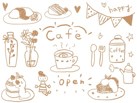 Hand-painted cafe illustration