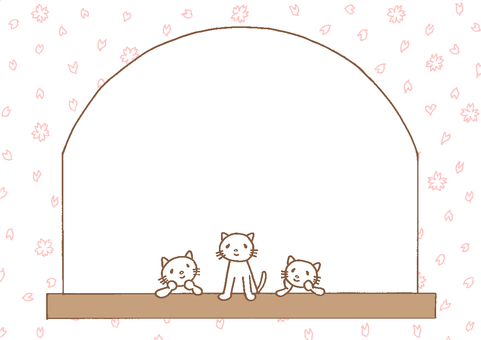 Cats on the window frame Cherry blossom ①